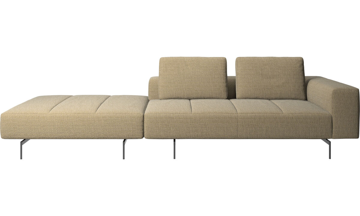 3 seater sofas - Amsterdam sofa with pouf on right side - Yellow - Fabric