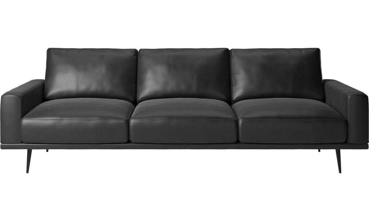Sofás de 3 plazas - sofá Carlton - En negro - Piel