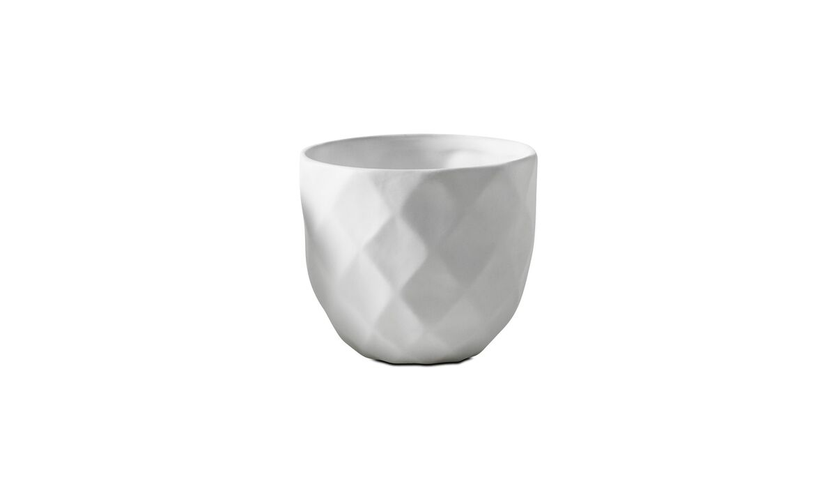 Candleholders - 3D structure tealight holder, Diamond - White - Ceramic