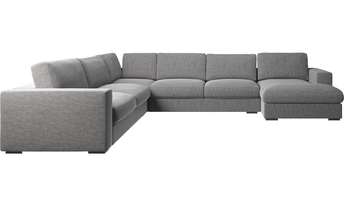 Chaise longue sofas - Cenova divano ad angolo con penisola relax - Grigio - Tessuto