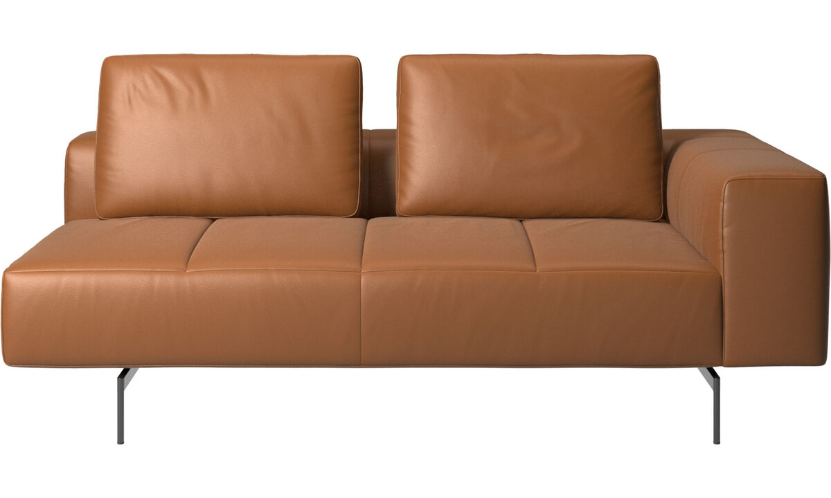 2.5 seater sofas - Amsterdam 2,5 seating module, armrest right - Brown - Leather