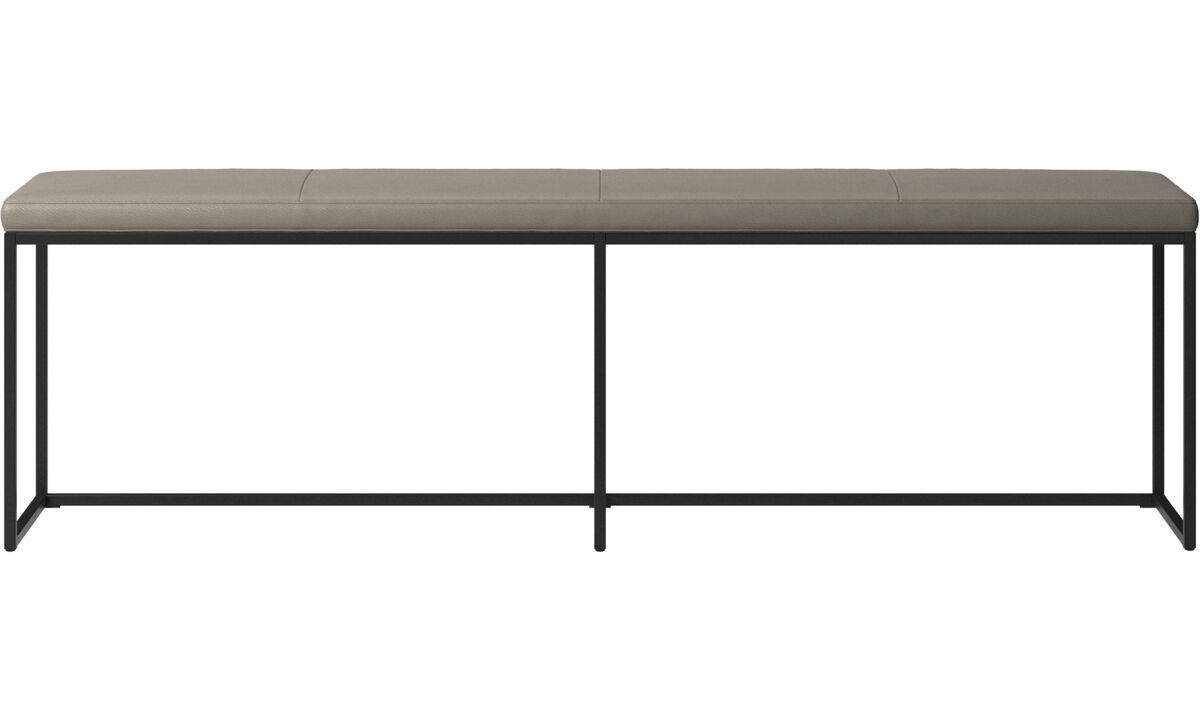 Benches - London large bench with cushion - Grey - Leather
