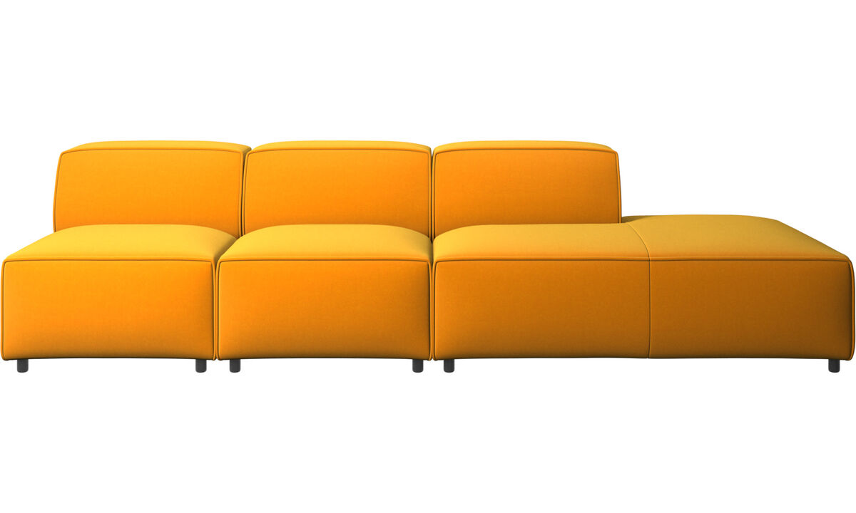 Sofás con lado abierto - sofá Carmo con módulo de descanso - Naranja - Tela