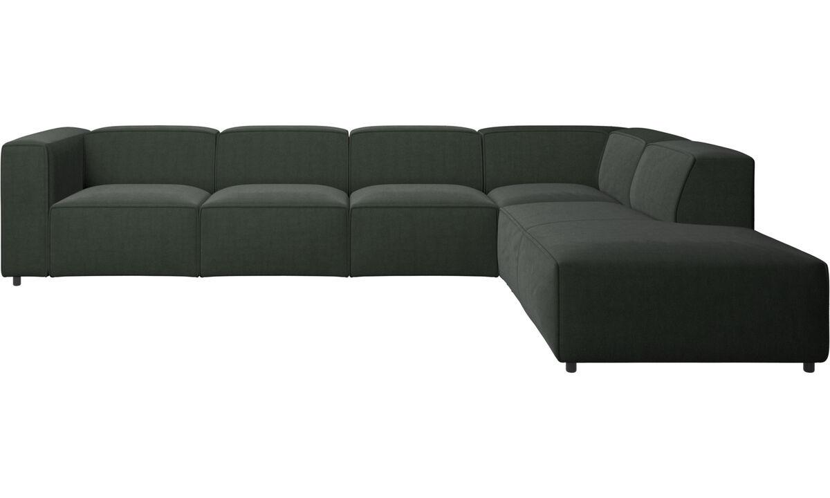 Sofás modulares - Sofá esquinero Carmo con módulo de descanso - En verde - Tela
