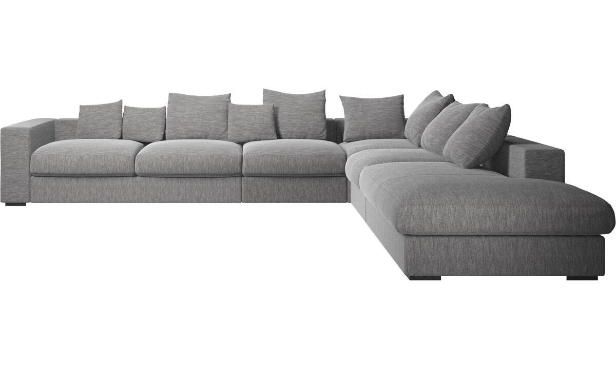 Sofas with open end - Cenova divano ad angolo con modulo relax - Grigio - Tessuto