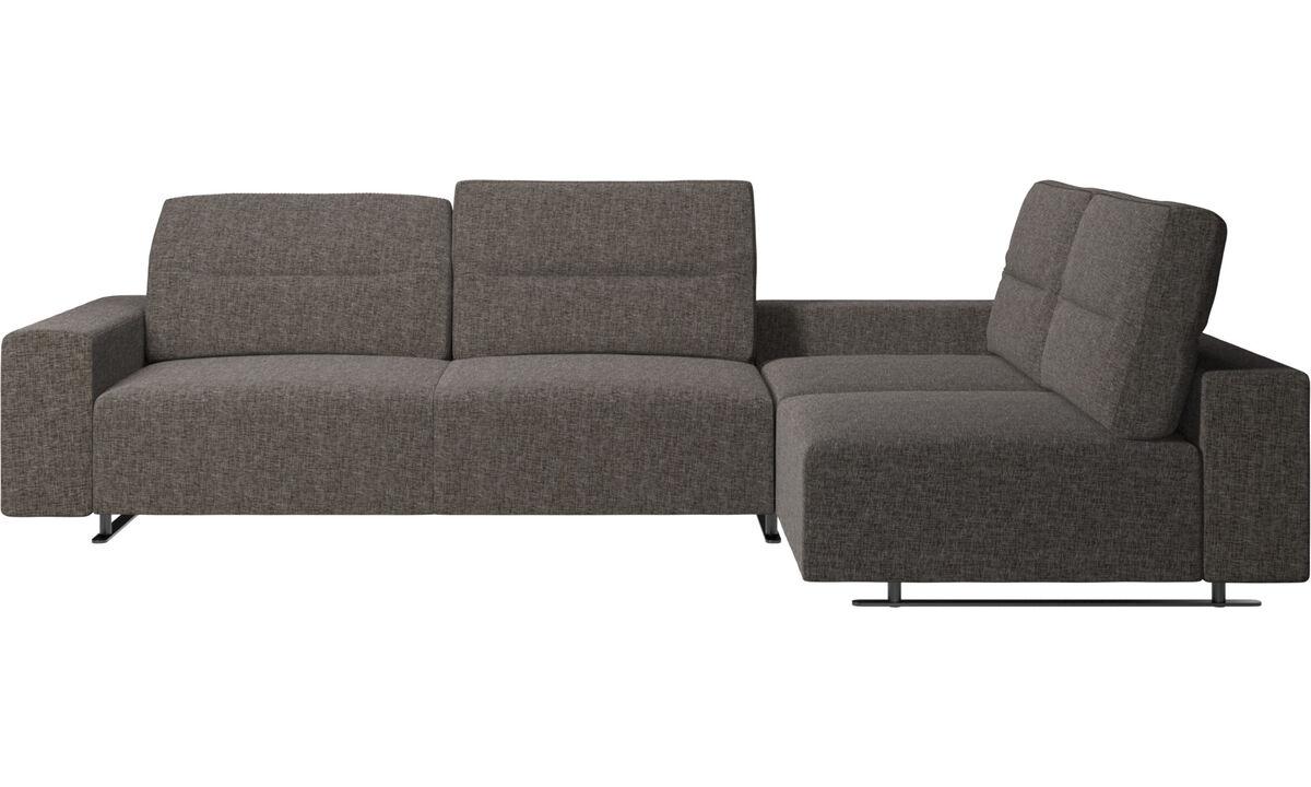 Corner & L-Shaped Sofa - Hampton corner sofa with adjustable back and storage on left side - Brown - Fabric