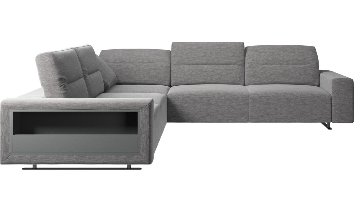 Corner sofas - Hampton corner sofa with adjustable back and storage - Gray - Fabric