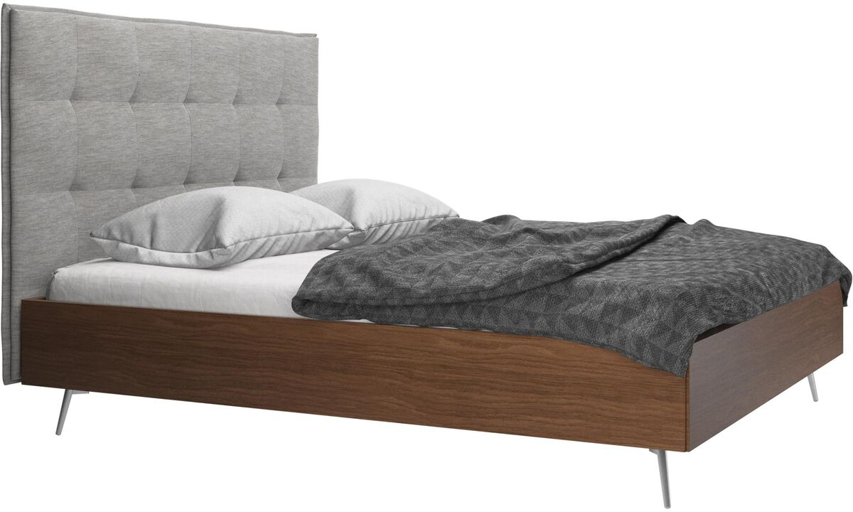Beds - Lugano bed, excl. slats and mattress - Grey - Fabric