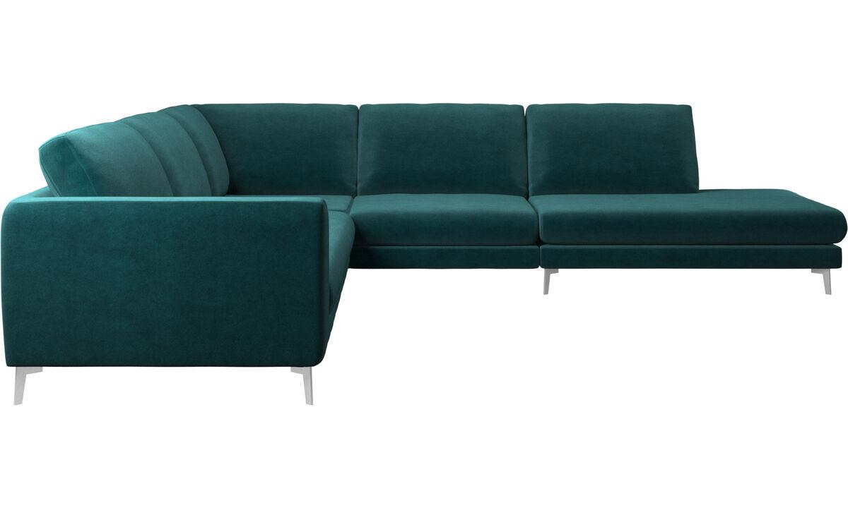 Sofás con lado abierto - sofá esquinero Fargo con módulo de descanso - En azul - Tela