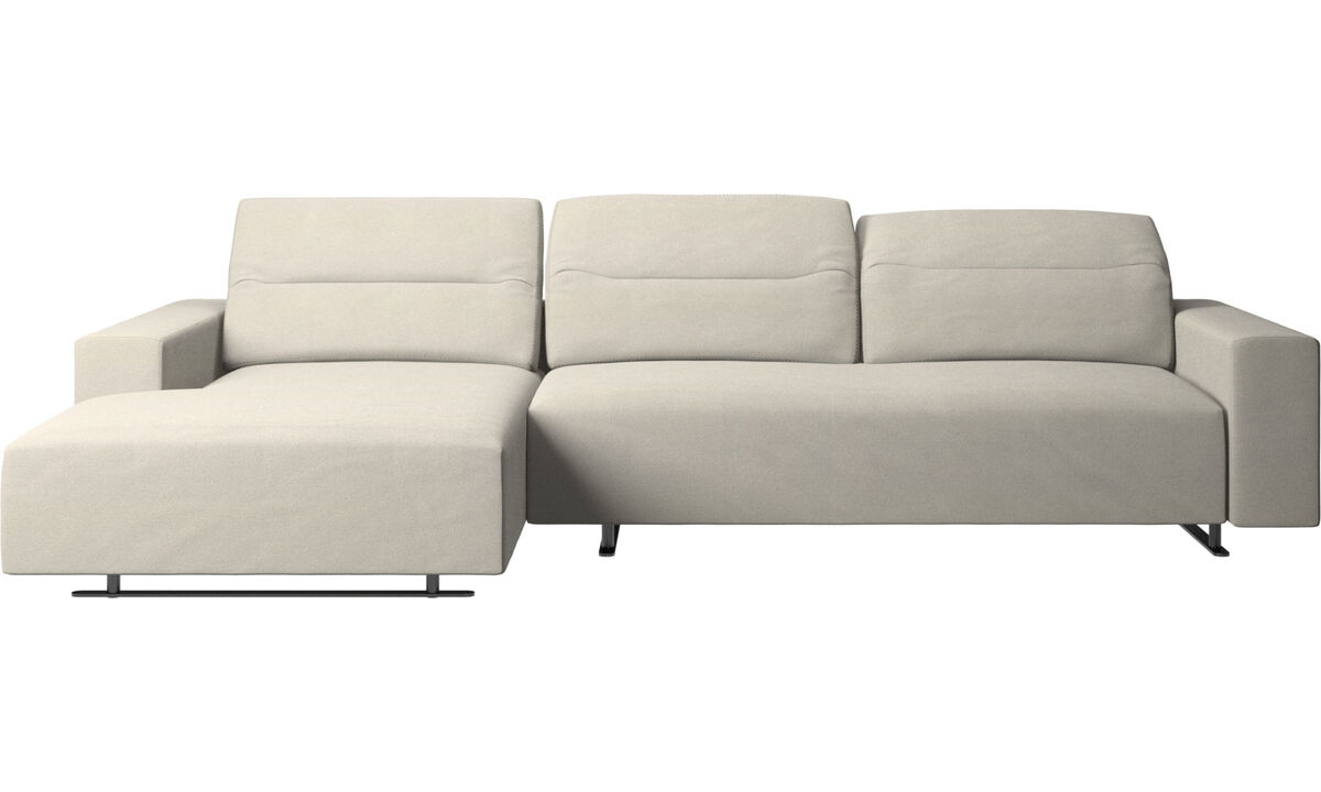 Chaise longue sofas - Hampton sofa with adjustable back and resting unit left side, storage right side - White - Fabric