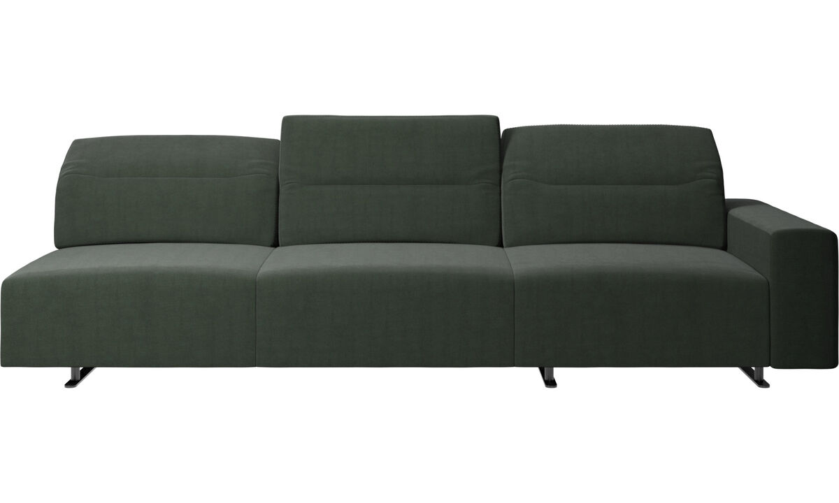 3 seater sofas - Hampton sofa with adjustable back and storage on the left side - Green - Fabric
