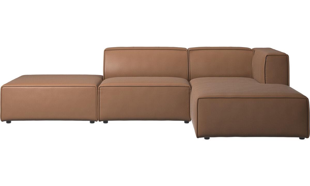 Sofás modulares - sofá Carmo con módulo chaise-longue - En marrón - Piel