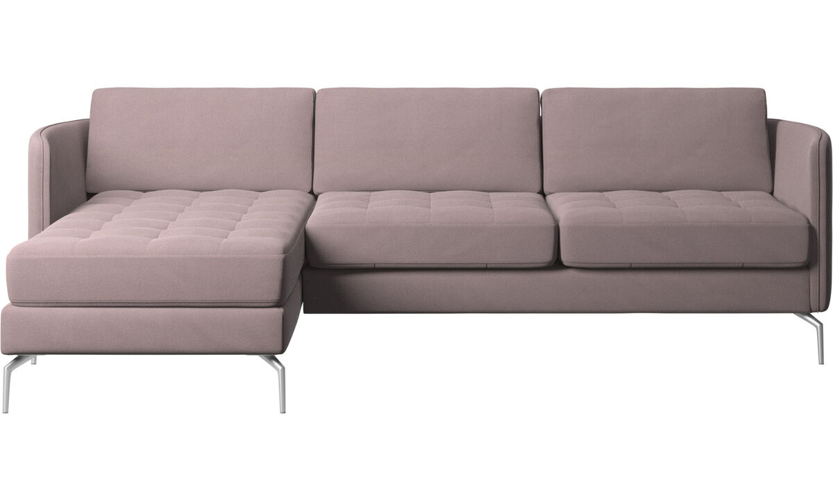 Sofás com chaise - Sofá Osaka com módulo chaise-longue, assento tufado - Roxo - Tecido