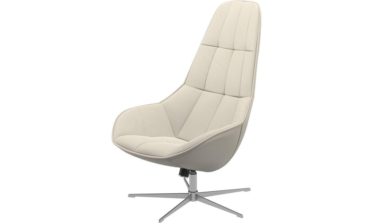 休闲椅 - Boston椅带旋转和倾斜功能. - 白色 - 布艺