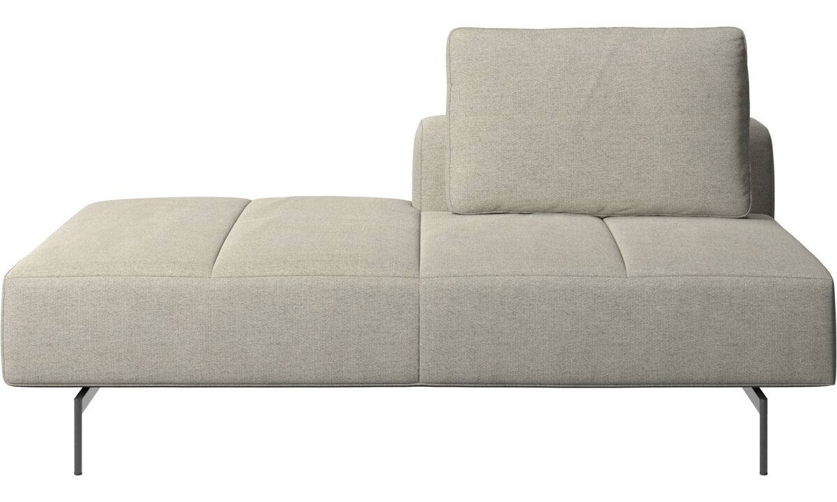 Sofás modulares - Módulo descanso para sofá Amsterdam, encosto traseiro direito, extremidade aberta esquerda - Bege - Tecido