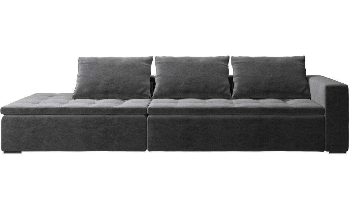 New designs - Mezzo sofa with lounging unit - Gray - Fabric