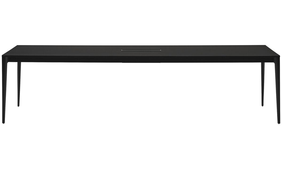 Mesas de reuniones - Mesa de conferencias Torino con bandeja para cables - rectangular - En negro - Laminado