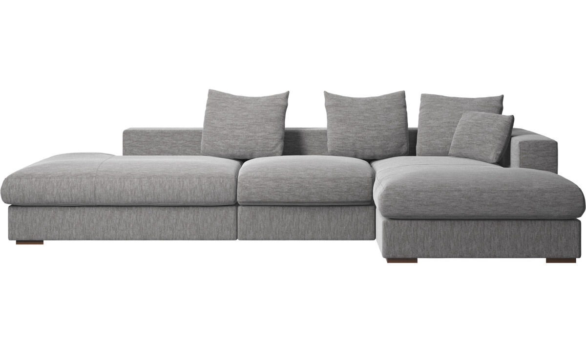 3 seater sofas - Cenova divano con lounge e penisola - Grigio - Tessuto