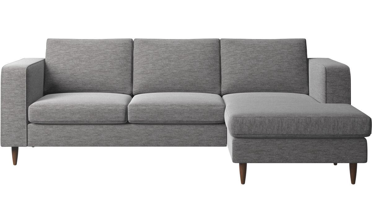 Sofás con chaise longue - sofá Indivi con módulo chaise-longue - En gris - Tela