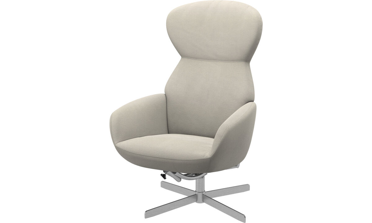 Recliners - Athena chair with reclining back function and swivel base - White - Fabric