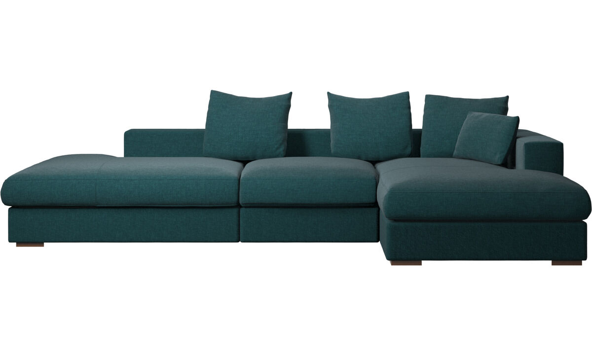 Sofás de 3 plazas - sofá Cenova con módulos de descanso y chaise-longue - En azul - Tela