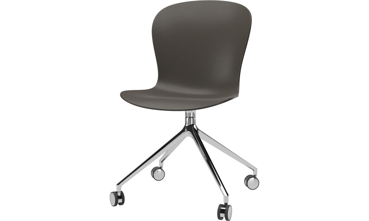 Home office chairs - Adelaide chair with swivel function and wheels - Green - Plastic