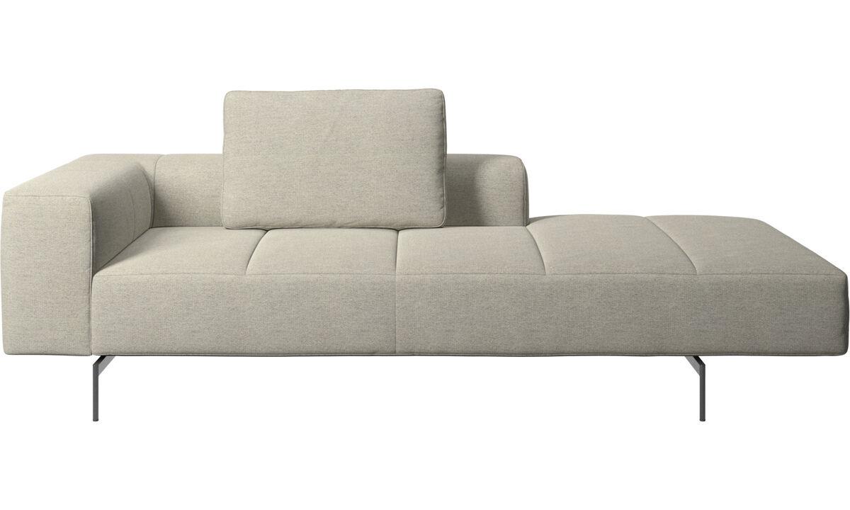 Sofás modulares - Módulo descanso para sofá Amsterdam, braço esquerdo, aberto e direito - Bege - Tecido
