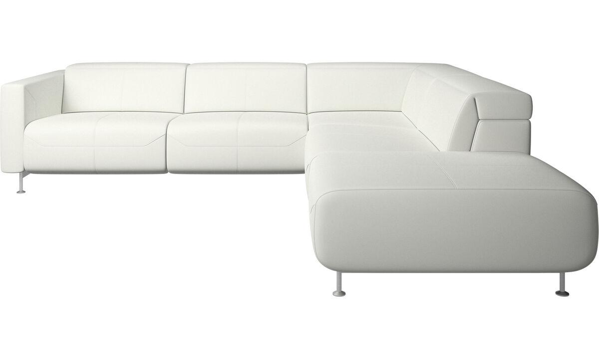 Sofás reclinables - Sofá esquinero reclinable Parma con lado abierto - Blanco - Piel