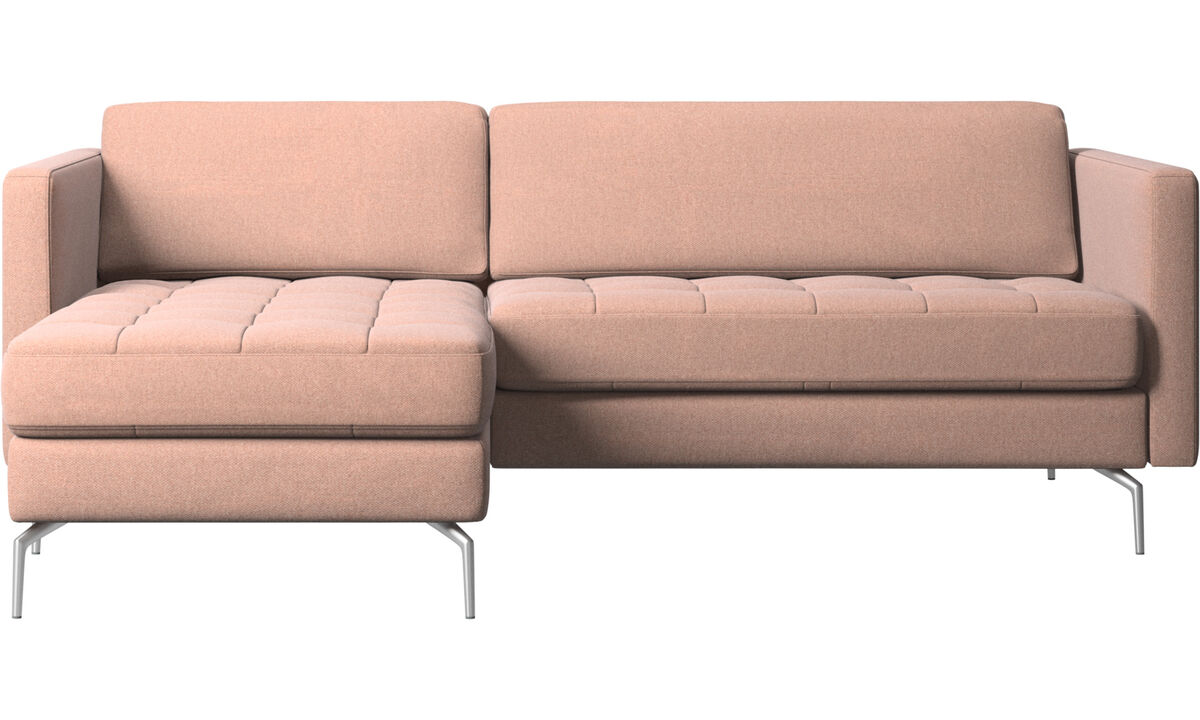 Szezlongi - Sofa Osaka z szezlongiem, pikowane siedzisko - Czerwone - Tkanina