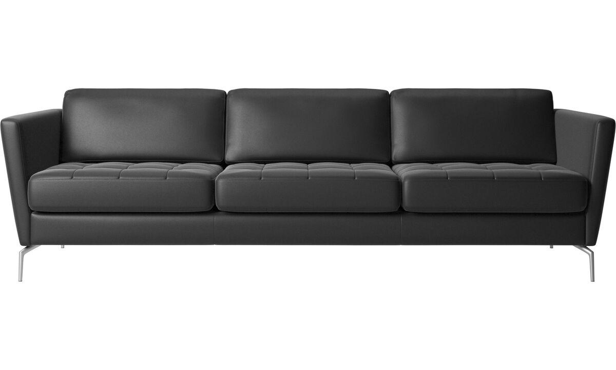 New designs - Osaka sofa, tufted seat - Black - Leather