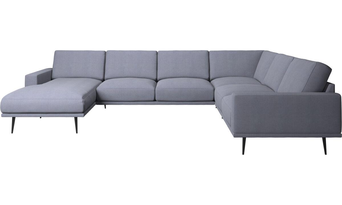 Chaise lounge sofas - Carlton corner sofa with resting unit - Blue - Fabric