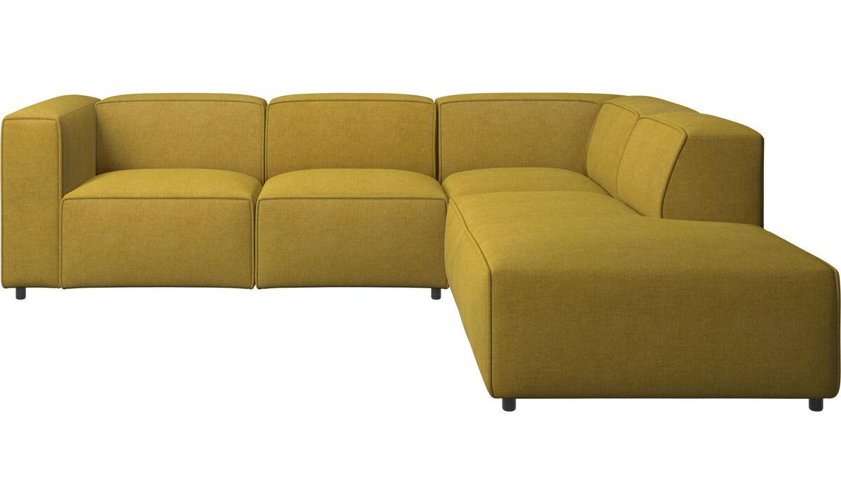 Sofás con chaise longue - Sofá esquinero Carmo con movimiento - En amarillo - Tela