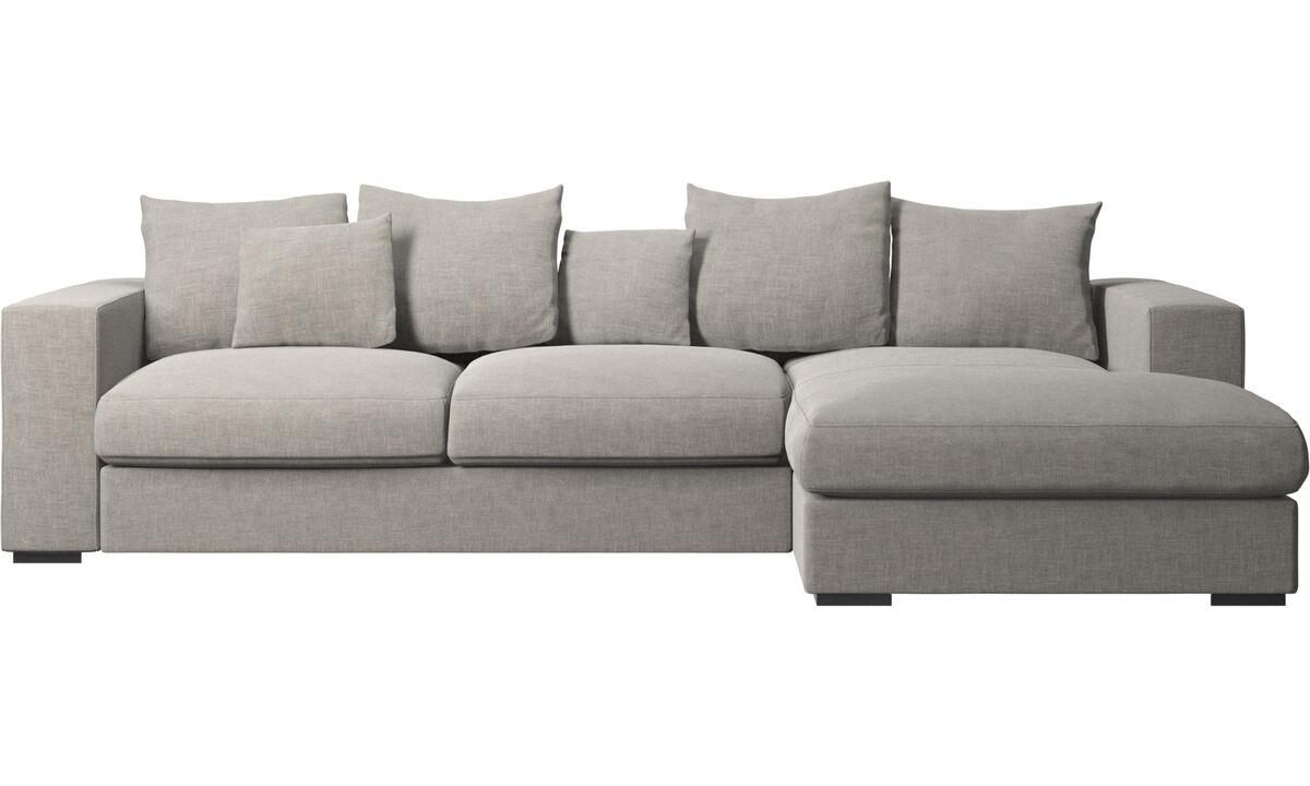 Sofas mit Récamiere - Cenova Sofa mit Ruhemodul - Grau - Stoff