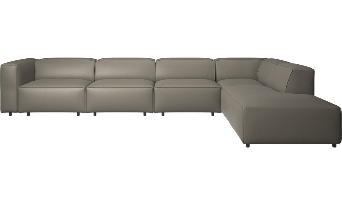 Sofas with open end - Carmo motion corner sofa - Grey - Leather