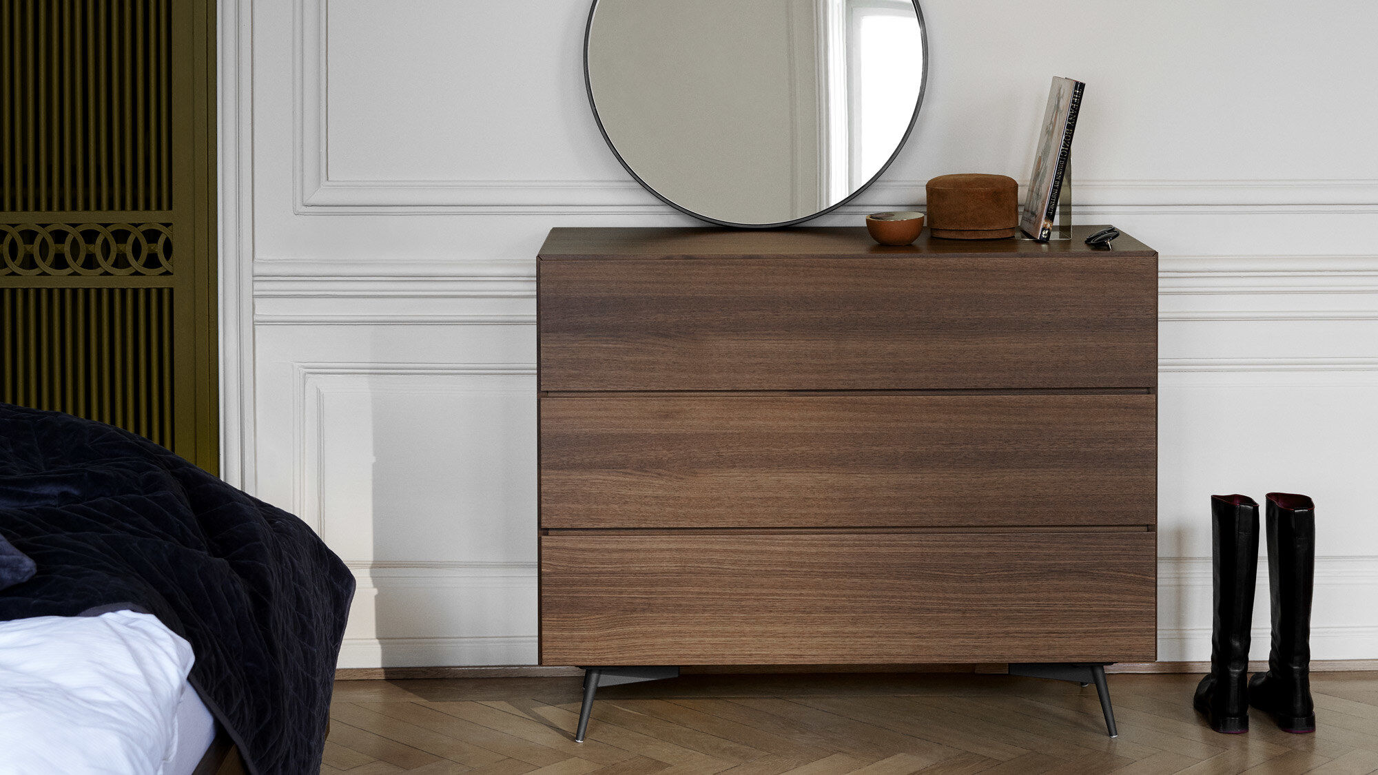 Sideboards - Lugano highboard with drawers and drop down door