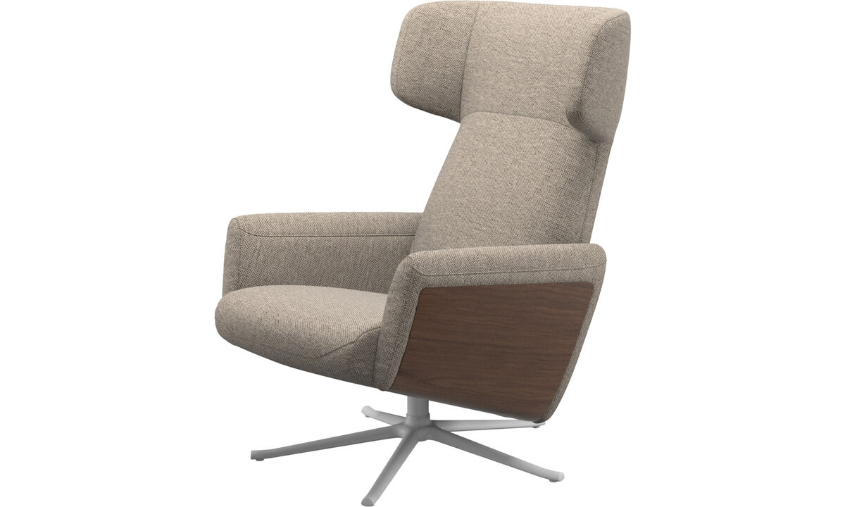 Armchairs - Lucca wing recliner with swivel function - Beige - Fabric