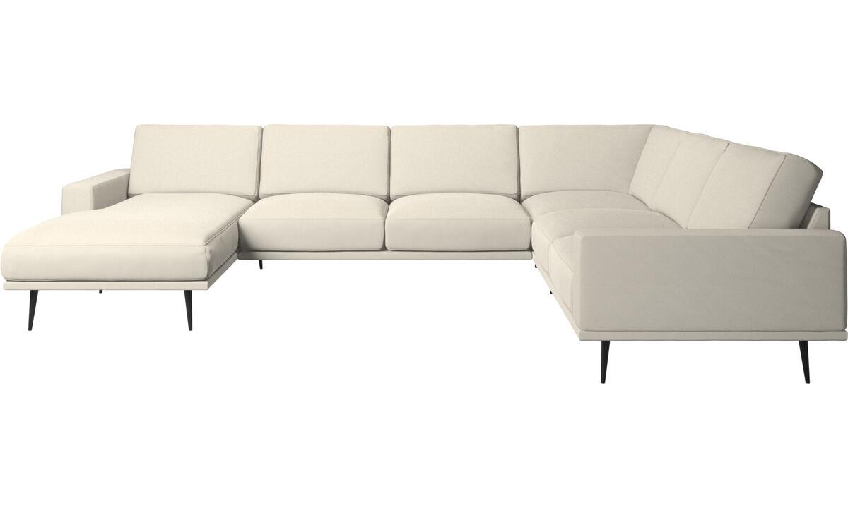 New designs - Carlton corner sofa with resting unit - White - Fabric