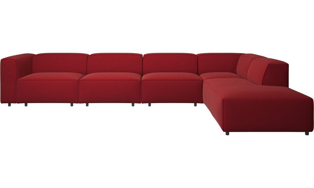 Sofás esquineros - Sofá esquinero Carmo con movimiento - Rojo - Tela
