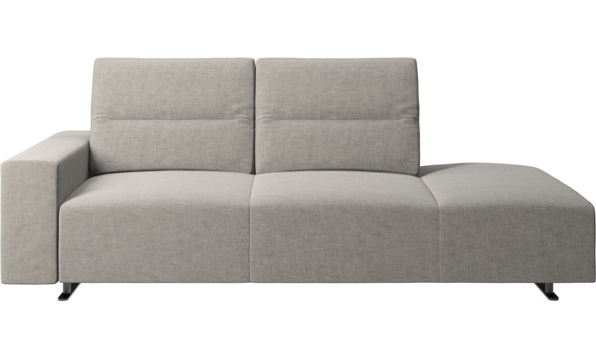 Sofas with open end - Hampton sofa with adjustable back and lounging unit right side, storage and armrest left side - Grey - Fabric
