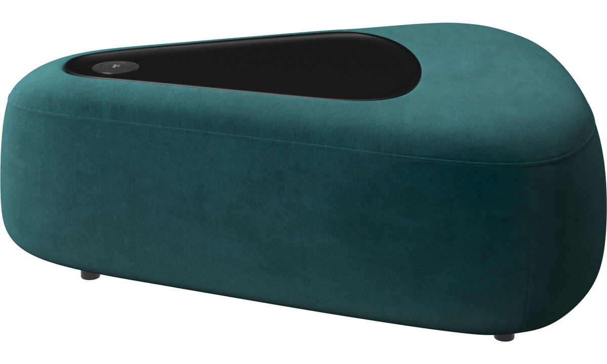Modular sofas - Ottawa triangular pouf with tray matte black structure - Blue - Fabric