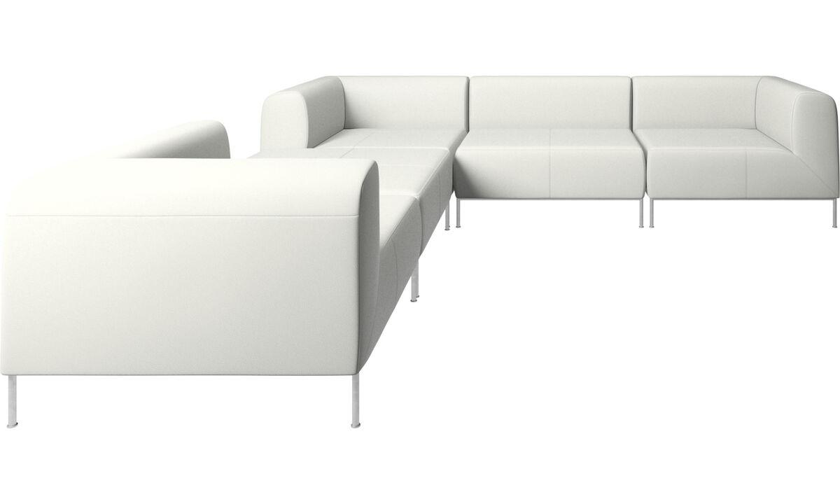 Sofás modulares - Sofá esquinero Miami con puf en lado izquierdo - Blanco - Piel