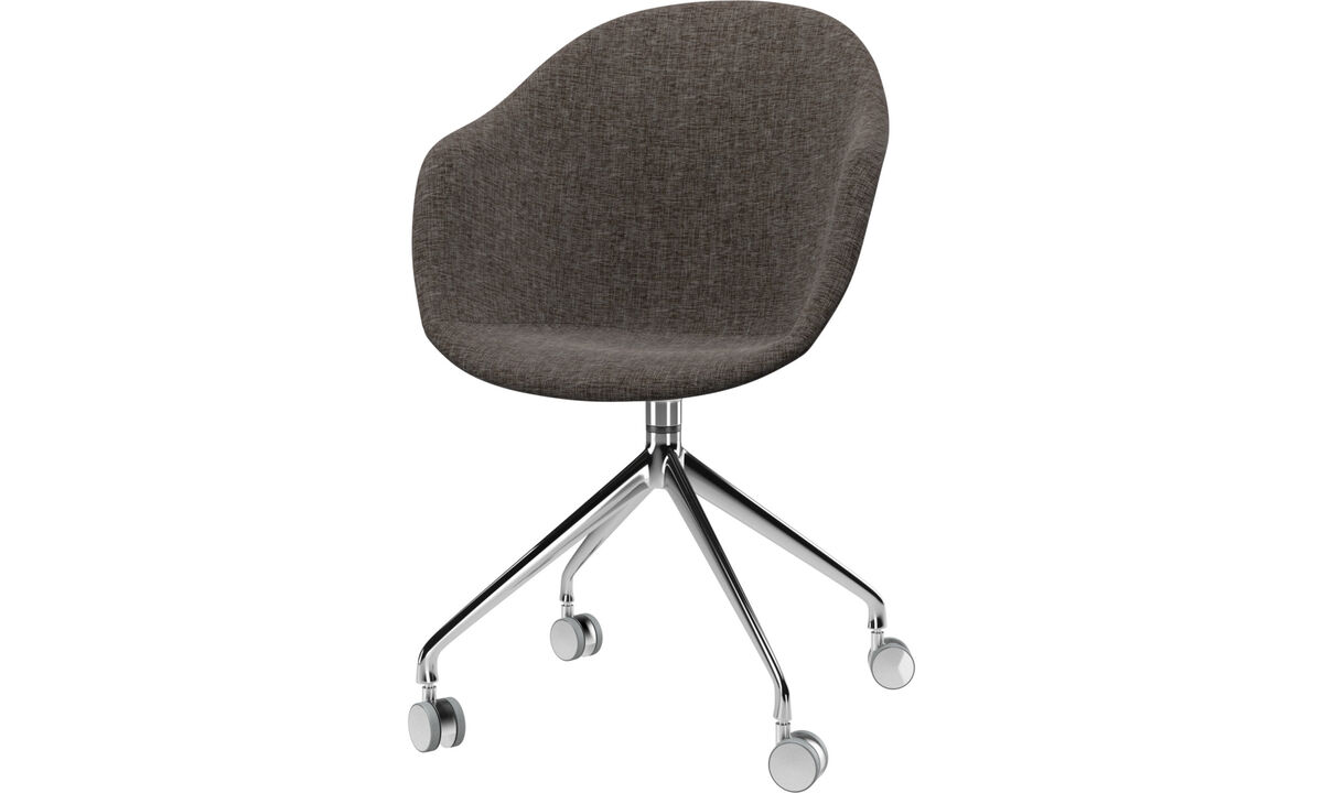 Dining chairs - Adelaide chair with swivel function and wheels - Brown - Fabric