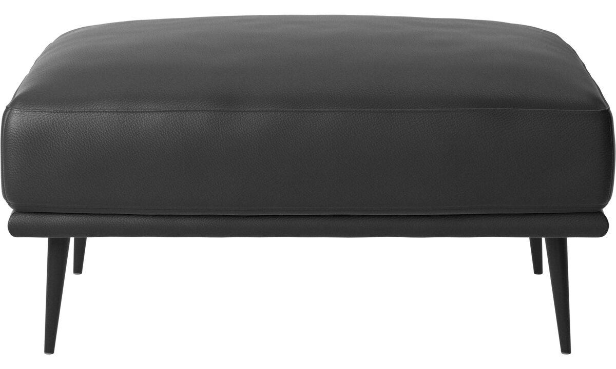 Footstools - Carlton ottoman - Black - Leather
