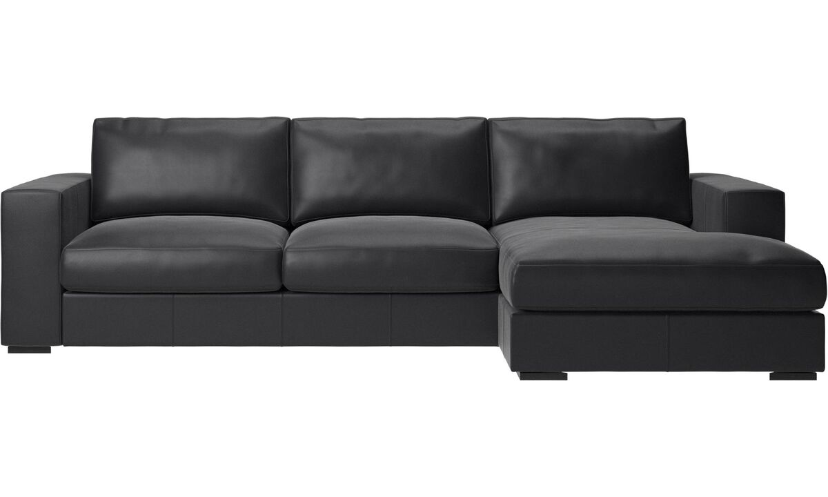 Chaise lounge sofas - Cenova sofa with resting unit - Black - Leather