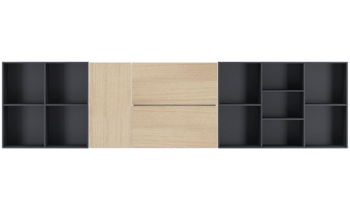 Wandsysteme - Lugano Wandsystem mit Klapptür - Weiß - Lack