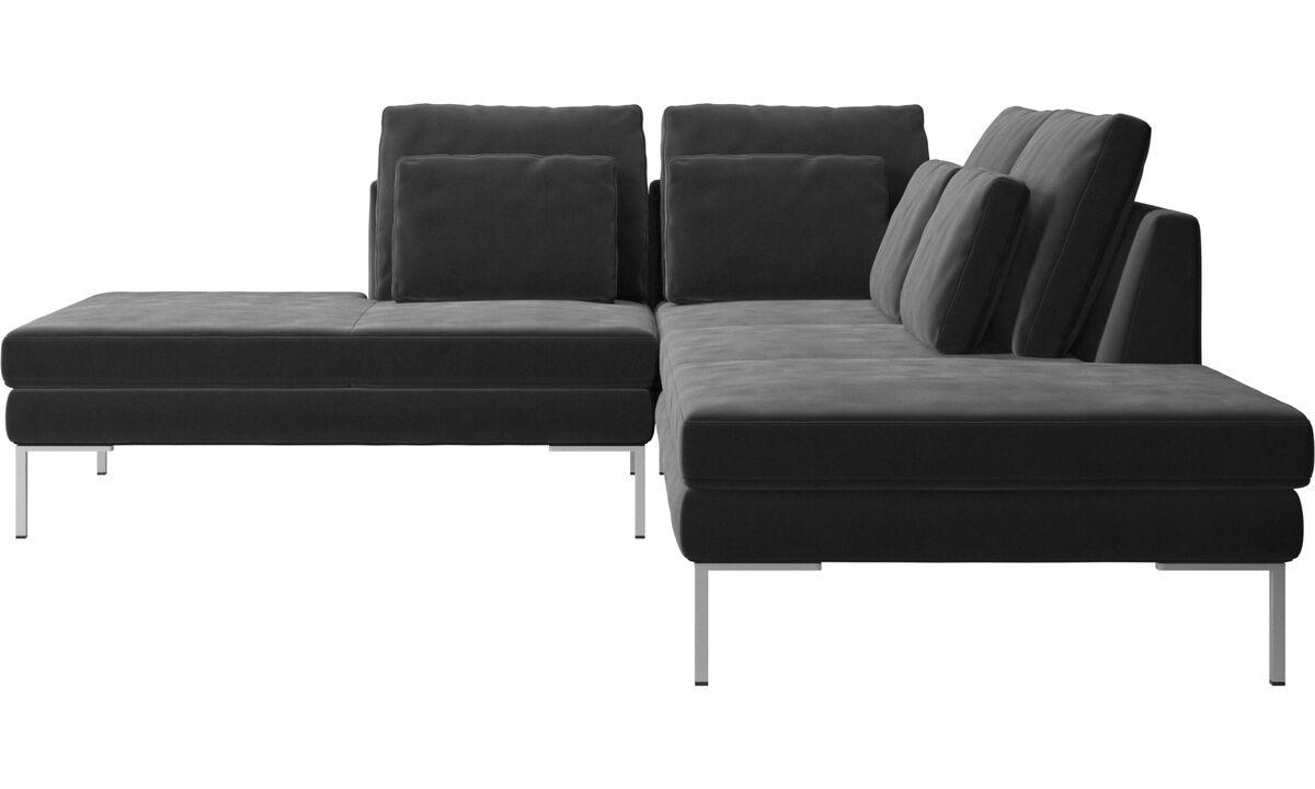 Sofas with open end - Istra 2 divano con lounge - Nero - Tessuto