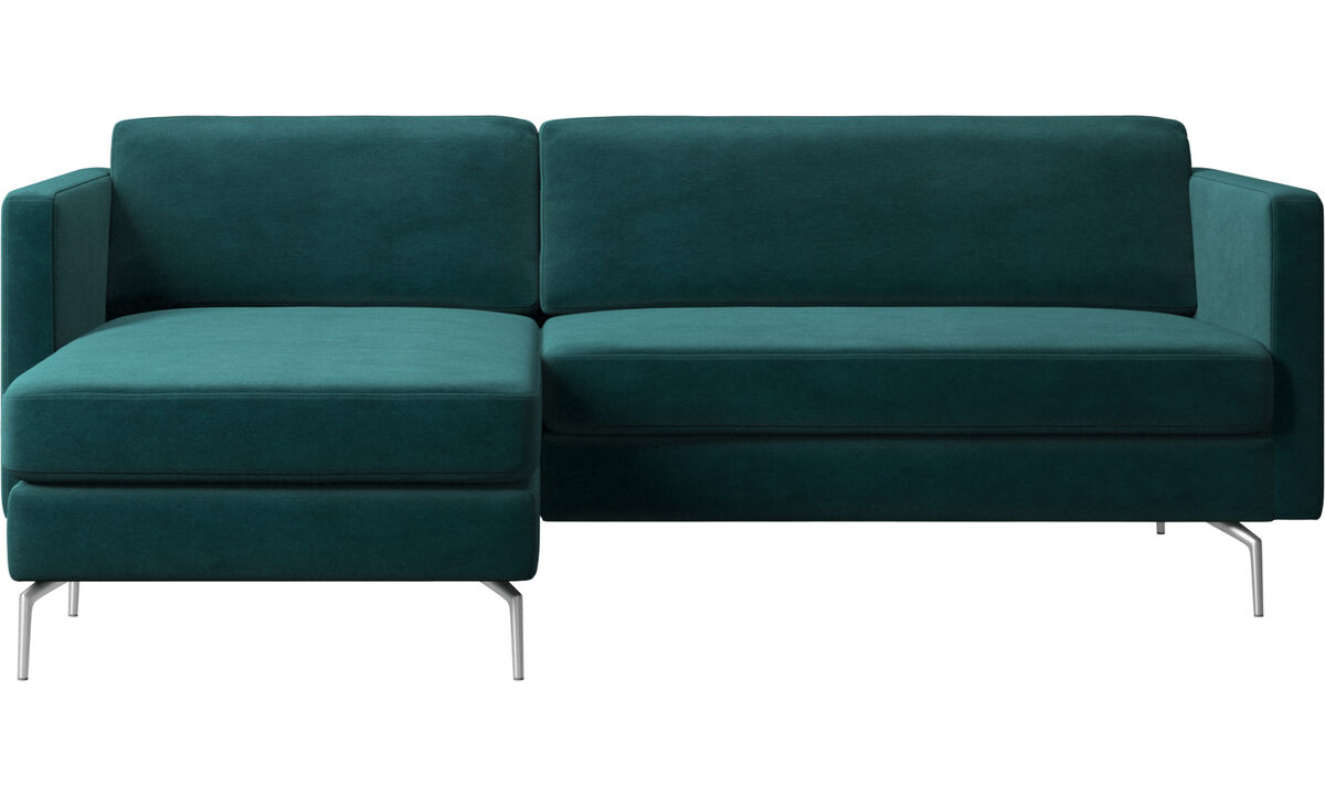Chaise longue sofas - Osaka sofa with resting unit, regular seat - Blue - Fabric