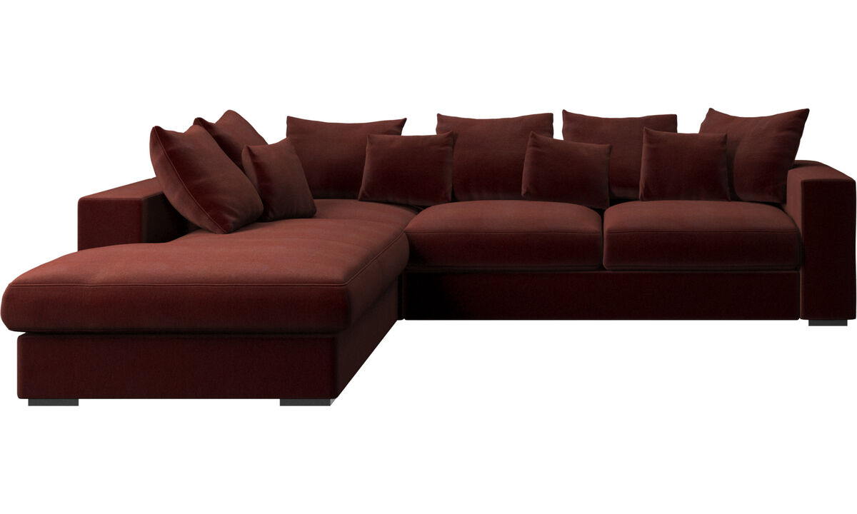 Sofas with open end - Cenova sofa with lounging unit - Red - Fabric