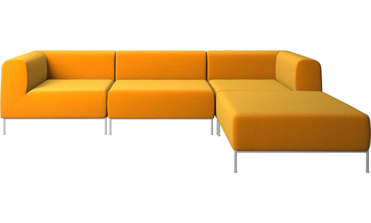 Sofás modulares - Sofá Miami con puf en lado derecho - Naranja - Tela