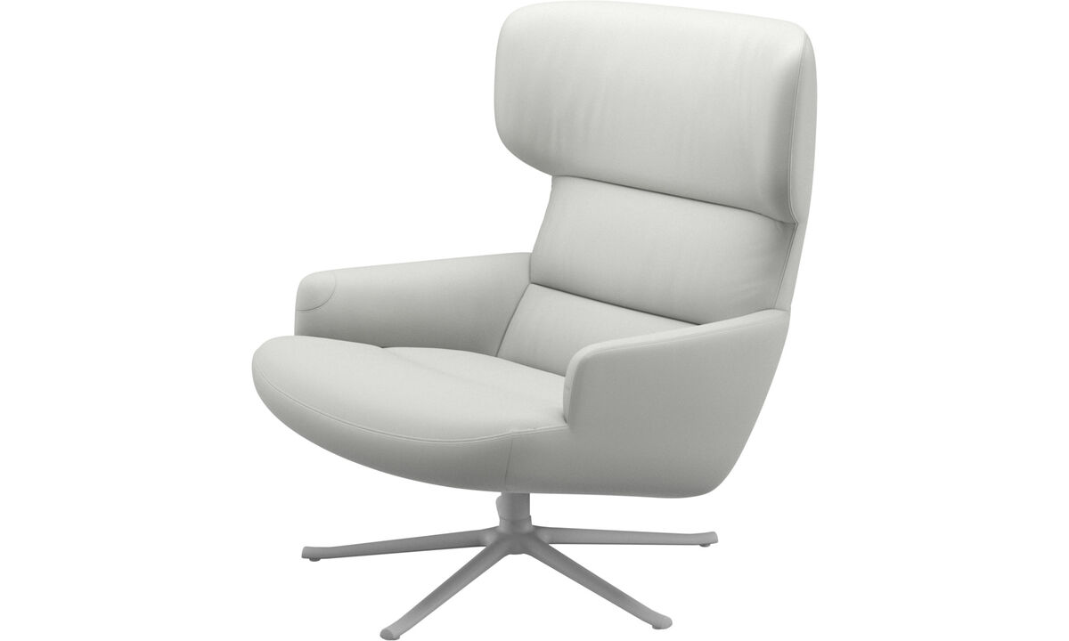 Armchairs - Trento chair with swivel function - White - Leather